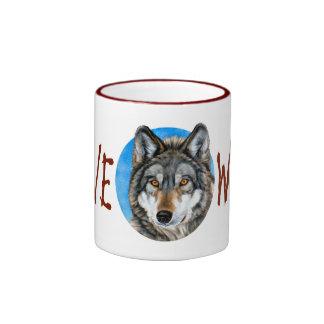 Lone Wolf Painting Ringer Coffee Mug