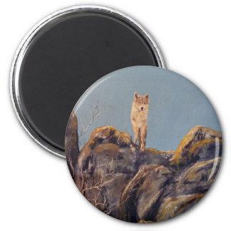 """""""Lone Wolf"""" Round Magnet"""