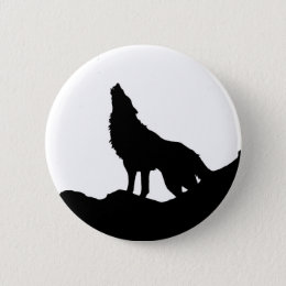 Lone Wolf Standing on a Hill Button