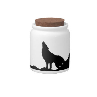 Lone Wolf Standing on a Hill Candy Dish