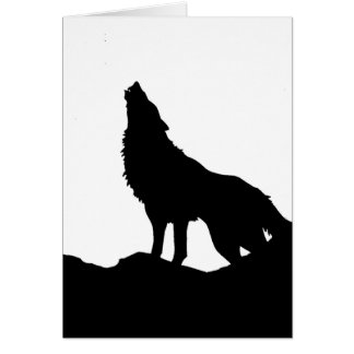 Lone Wolf Standing on a Hill Card