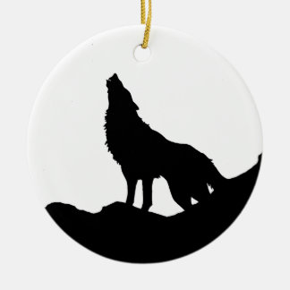 Lone Wolf Standing on a Hill Ceramic Ornament
