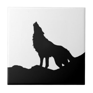 Lone Wolf Standing on a Hill Ceramic Tile