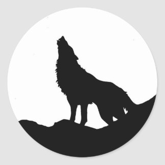 Lone Wolf Standing on a Hill Classic Round Sticker