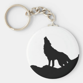 Lone Wolf Standing on a Hill Keychain