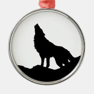 Lone Wolf Standing on a Hill Ornaments