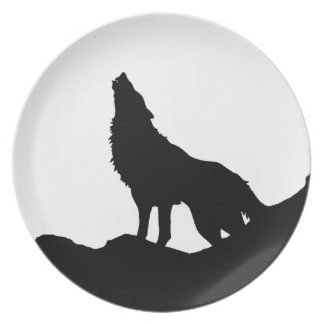 Lone Wolf Standing on a Hill Plate