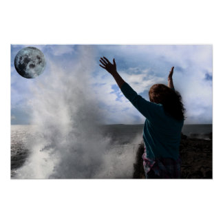 lone woman with raised hands a wave and full moon poster