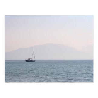 Lone Yacht at Dusk Postcard