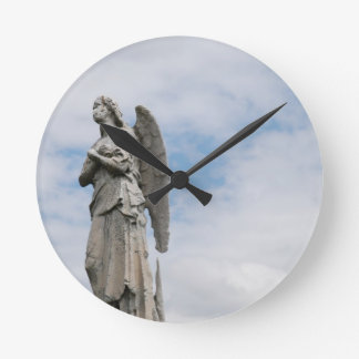 lonely angel round clock