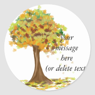 Lonely Autumn Tree Classic Round Sticker