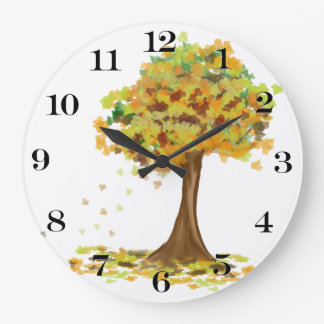Lonely Autumn Tree Large Clock