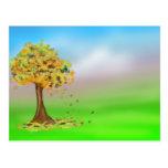 Lonely Autumn Tree Postcards