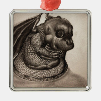 Lonely Baby Dragon Metal Ornament