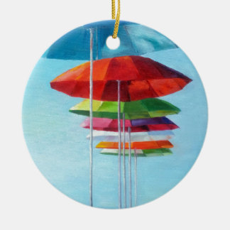 Lonely Beach Umbrellas Waiting for Humans Double-Sided Ceramic Round Christmas Ornament
