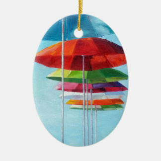 Lonely Beach Umbrellas Waiting for Humans Double-Sided Oval Ceramic Christmas Ornament