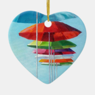 Lonely Beach Umbrellas Waiting for Humans Double-Sided Heart Ceramic Christmas Ornament