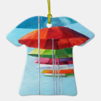 Lonely Beach Umbrellas Waiting for Humans Double-Sided T-Shirt Ceramic Christmas Ornament