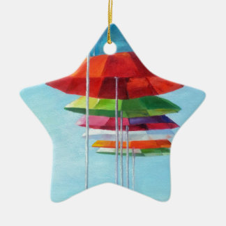 Lonely Beach Umbrellas Waiting for Humans Double-Sided Star Ceramic Christmas Ornament