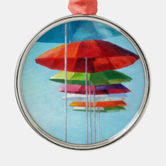 Lonely Beach Umbrellas Waiting for Humans Round Metal Christmas Ornament