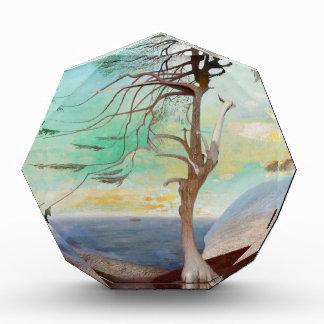 Lonely Cedar Tree Landscape Painting Acrylic Award