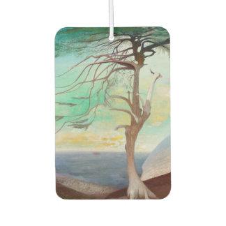Lonely Cedar Tree Landscape Painting Car Air Freshener