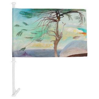 Lonely Cedar Tree Landscape Painting Car Flag
