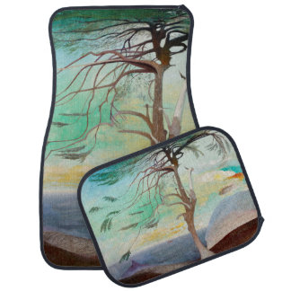 Lonely Cedar Tree Landscape Painting Car Mat