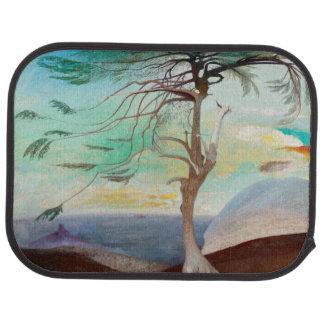 Lonely Cedar Tree Landscape Painting Car Mat