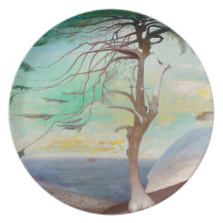 Lonely Cedar Tree Landscape Painting Dinner Plate