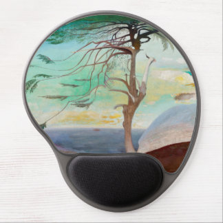 Lonely Cedar Tree Landscape Painting Gel Mouse Pad