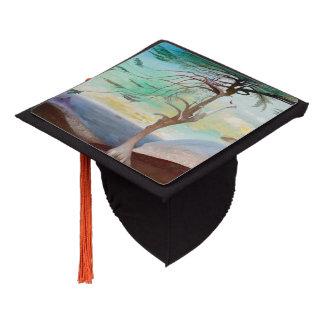 Lonely Cedar Tree Landscape Painting Graduation Cap Topper