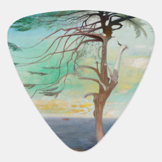 Lonely Cedar Tree Landscape Painting Guitar Pick