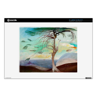 Lonely Cedar Tree Landscape Painting Laptop Decals