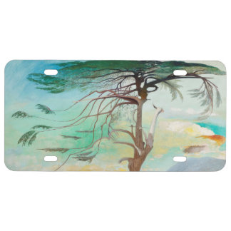 Lonely Cedar Tree Landscape Painting License Plate