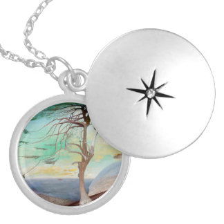 Lonely Cedar Tree Landscape Painting Locket Necklace