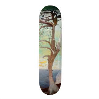 Lonely Cedar Tree Landscape Painting Skateboard Deck