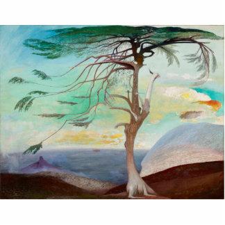 Lonely Cedar Tree Landscape Painting Statuette