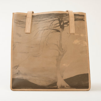 Lonely Cedar Tree Landscape Painting Tote