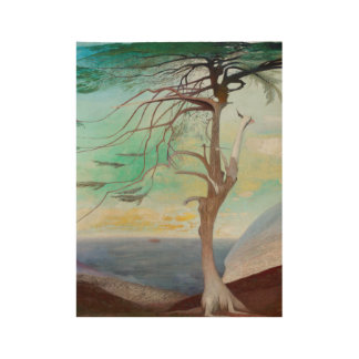 Lonely Cedar Tree Landscape Painting Wood Poster