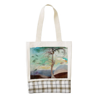 Lonely Cedar Tree Landscape Painting Zazzle HEART Tote Bag