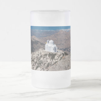 Lonely church in Greek mountains Frosted Glass Beer Mug