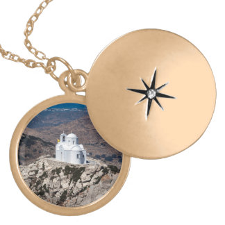 Lonely church in Greek mountains Gold Plated Necklace
