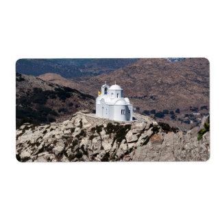Lonely church in Greek mountains Label