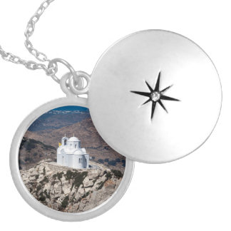 Lonely church in Greek mountains Silver Plated Necklace