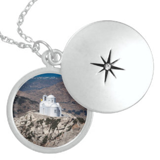Lonely church in Greek mountains Sterling Silver Necklace