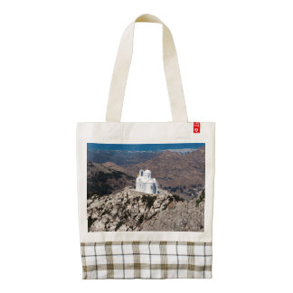 Lonely church in Greek mountains Zazzle HEART Tote Bag