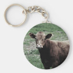 Lonely Cow Basic Round Button Keychain