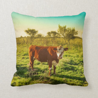 Lonely Cow in the Meadow Facing the Camera Throw Pillow