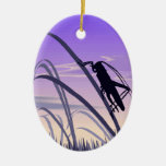 Lonely Cricket Double-Sided Oval Ceramic Christmas Ornament